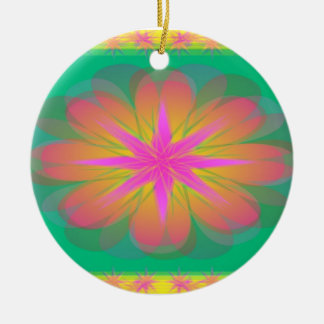 Pretty Petals Double-Sided Ceramic Round Christmas Ornament