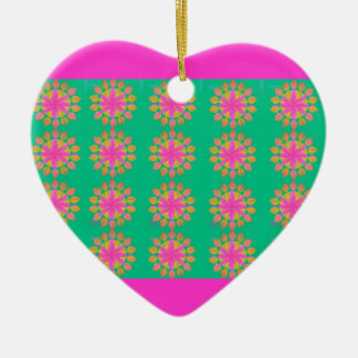 Pretty Petals Double-Sided Heart Ceramic Christmas Ornament