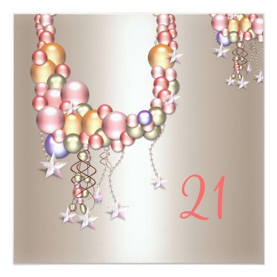 Pretty Pewter Peach Pearls Stars 21st Birthday Card