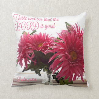 Pretty Pillow w/ pink daisies with Bible verse
