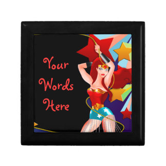 Pretty Pin Up Girl Small Square Gift Box