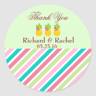 Pretty Pineapples Thank You Classic Round Sticker