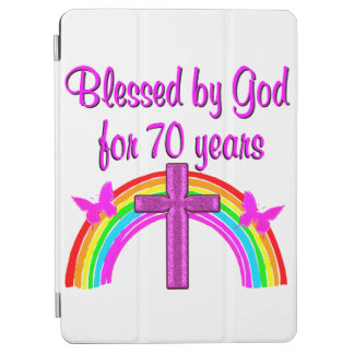 PRETTY PINK 70TH BIRTHDAY CROSS AND RAINBOWS iPad AIR COVER