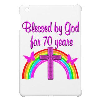PRETTY PINK 70TH BIRTHDAY CROSS AND RAINBOWS iPad MINI CASE