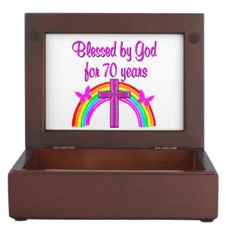 PRETTY PINK 70TH BIRTHDAY CROSS AND RAINBOWS KEEPSAKE BOX