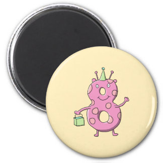 Pretty Pink 8th Birthday Cartoon Monster. Magnet