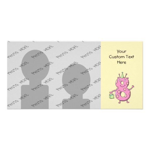 Pretty Pink 8th Birthday Cartoon Monster. Personalized Photo Card