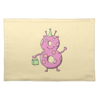 Pretty Pink 8th Birthday Cartoon Monster. Placemat
