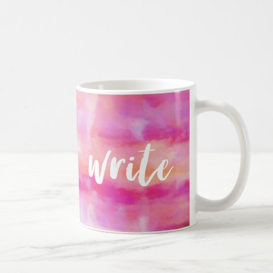 Pretty pink abstract watercolor Write Coffee Mug