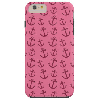 Pretty pink anchor pattern tough iPhone 6 plus case