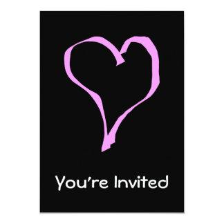 Pretty Pink and Black Love Heart. 13 Cm X 18 Cm Invitation Card
