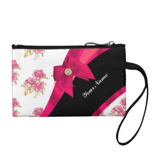 Pretty pink and black  vintage floral pattern coin purses