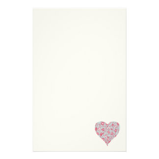 Pretty Pink and Blue Love Flower Heart Stationery