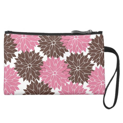Pretty Pink and Brown Flower Blossoms Floral Print Wristlet Clutch