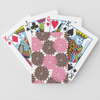 Pretty Pink and Brown Flower Blossoms Floral Print Bicycle Playing Cards