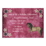 Pretty Pink and Brown Horse and Flowers Birthday 13 Cm X 18 Cm Invitation Card
