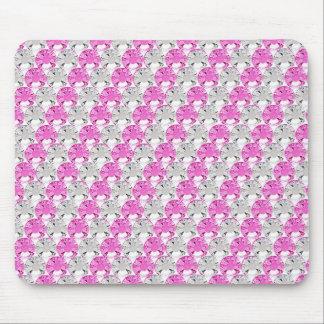 Pretty Pink and Clear Rhinestone Stripe Design Mouse Mat