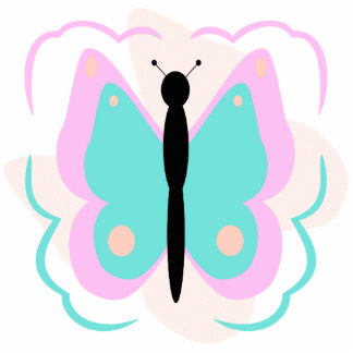Pretty Pink And Cyan Butterfly Ornament Photo Sculpture Decoration