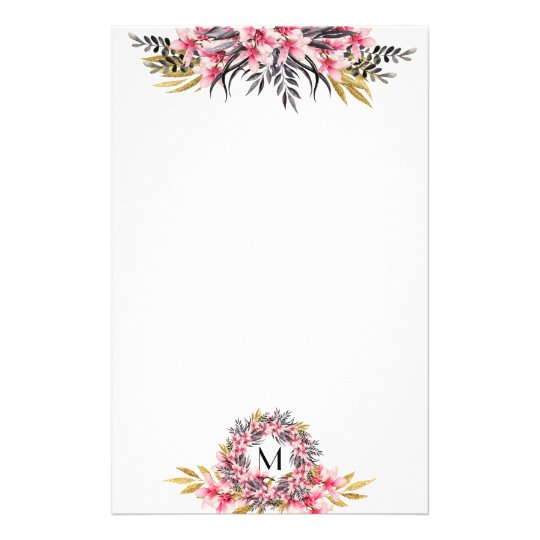 Pretty Pink and Gold Magnolia Floral and Monogram