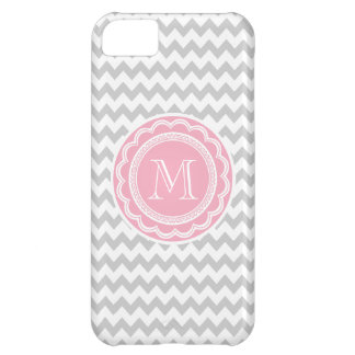 Pretty Pink and Gray Chevron Monogram iPhone 5C Case