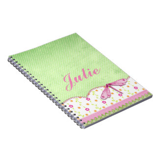 Pretty Pink and Green Floral with Dragonfly Notebook