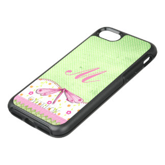 Pretty Pink and Green Floral with Dragonfly OtterBox Symmetry iPhone 8/7 Case