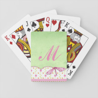 Pretty Pink and Green Floral with Dragonfly Playing Cards