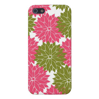 Pretty Pink and Green Flower Blossoms Floral Print iPhone 5 Case