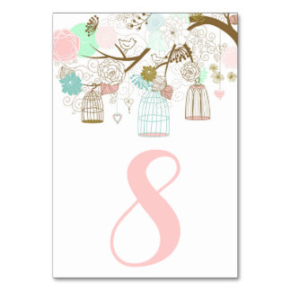 Pretty Pink and Mint Birdcages Table Numbers I Table Cards