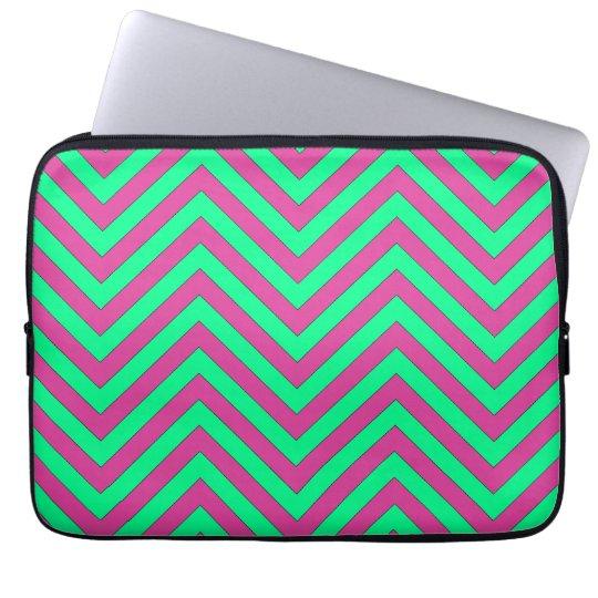 Pretty Pink and Minty Green Chevron Pattern Laptop