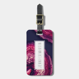 Pretty Pink and Purple Agate Geode Stone on Blue Luggage Tag