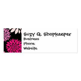 Pretty Pink and Purple Flowers on Black Business Card