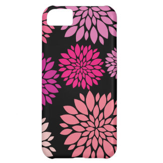 Pretty Pink and Purple Flowers on Black iPhone 5C Case