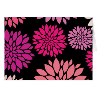 Pretty Pink and Purple Flowers on Black Note Card