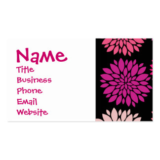 Pretty Pink and Purple Flowers on Black Pack Of Standard Business Cards