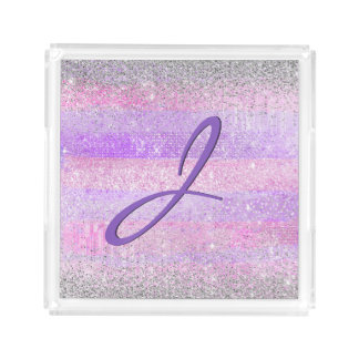 Pretty Pink and Purple Monogrammed Acrylic Tray