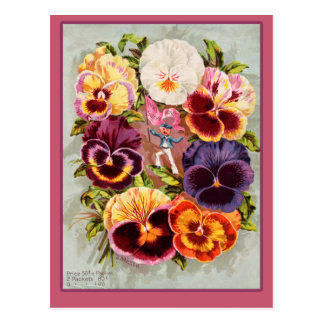 Pretty Pink and Purple Pansies Vintage Art Postcard