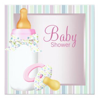 Pretty Pink and Teal Blue Baby Girl Shower 13 Cm X 13 Cm Square Invitation Card