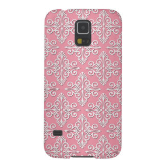 Pretty Pink and White Damask Pattern Galaxy S5 Cover