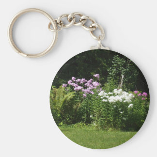 Pretty Pink and White Flower Bed  Scene Key Ring
