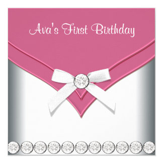 Pretty Pink and White Girls Birthday Party 13 Cm X 13 Cm Square Invitation Card