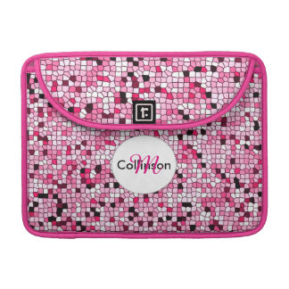 Pretty Pink and White Mosaic Design Personalized Sleeve For MacBooks