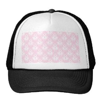 Pretty pink and white pattern. Damask. Mesh Hat