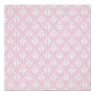 Pretty pink and white pattern. Damask. Poster