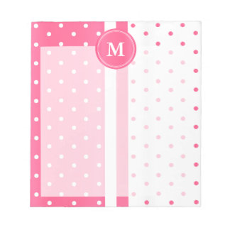 Pretty Pink and White Polka Dots Notepad