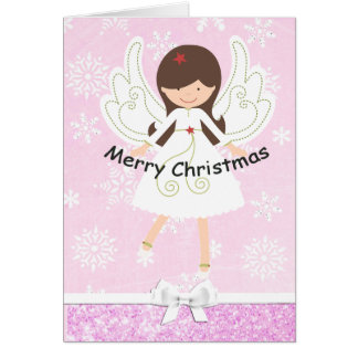 Pretty Pink Angel & Snowflakes Christmas Card