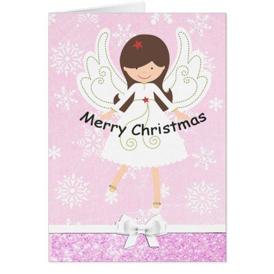 Pretty Pink Angel & Snowflakes Christmas Card