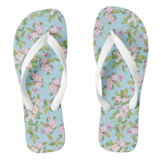 Pretty Pink Apple Blossom on Blue Leafy Background Flip Flops