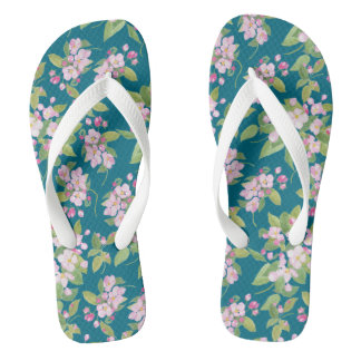 Pretty Pink Apple Blossom on Navy Background Flip Flops