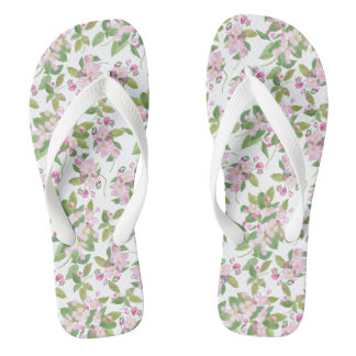 Pretty Pink Apple Blossom on White Background Flip Flops
